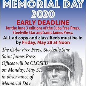 Memorial Day Early Deadline