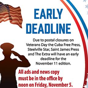 Veterans Day Early Deadline